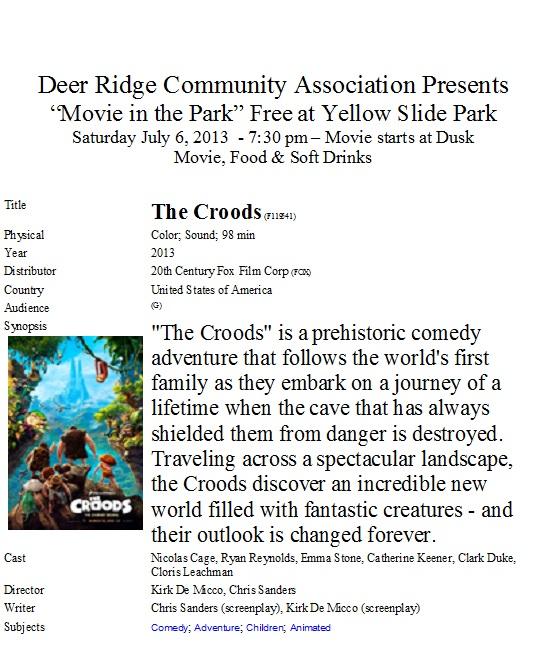 Movie in the park - Deer Ridge CA -July 6, 2013