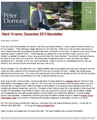 Councillor Demong - December 2013