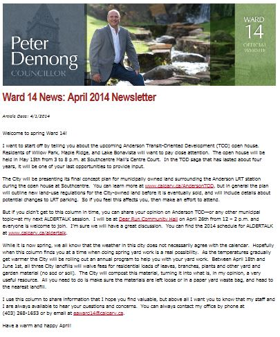 Councillor Demong April 2014
