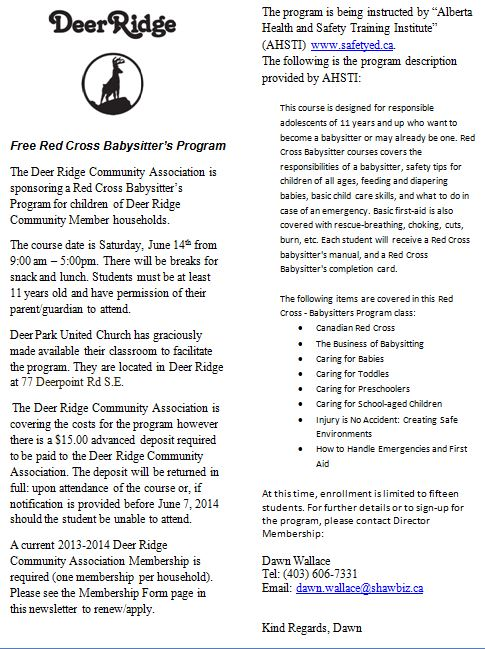 Deer Ridge Baby Sitting Program