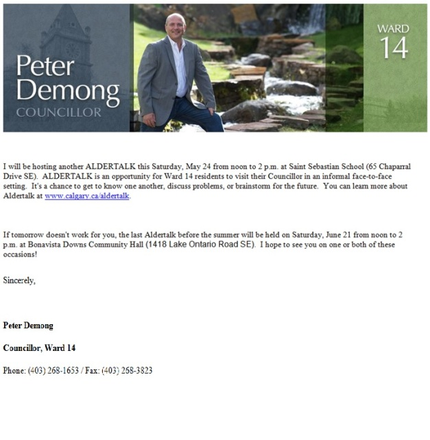 Councillor Demong Aldertalk May 24, 2014