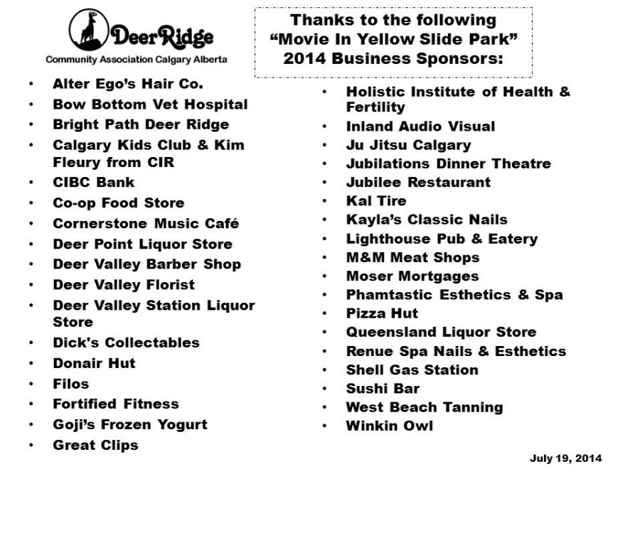 Business Raffle Sponsors for Movie in the Park
