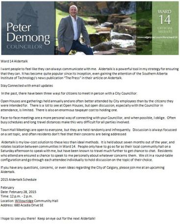 Councillor Peter Demong -Aldertalk February 28, 2015