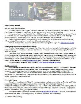 Peter Demong-December newsletter