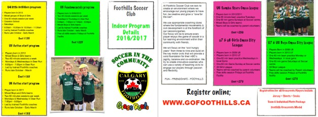 Foothills Soccer Indoor Program Details 2016/2017