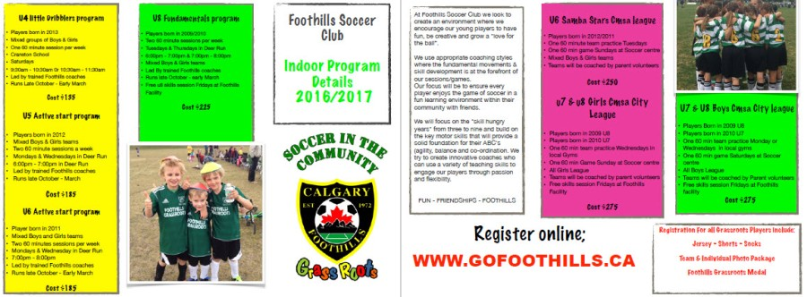 Foothills Soccer Indoor Program Details 2016/2017